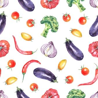 Aquarel groenten naadloze patroon