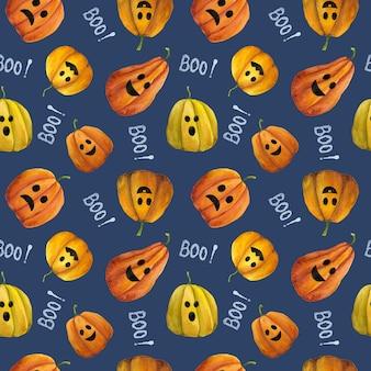 Aquarel halloween naadloos patroon op blauwe achtergrond jack o lantern herhaal print