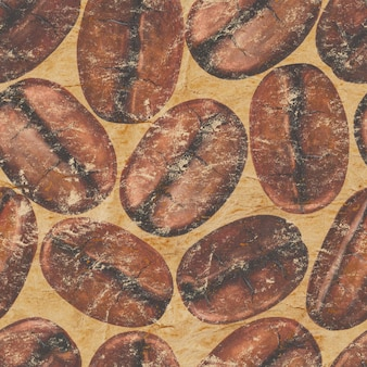 Aquarel hand getekend gebrande koffiebonen op vintage oppervlak