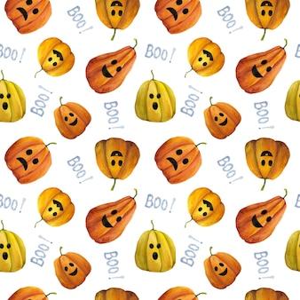 Aquarel hand getekend halloween naadloze patroon op witte achtergrond. jack o lantern herhalingsafdruk. leuke halloween-pompoenenachtergrond voor textiel, stof, verpakking, behang en decoratie