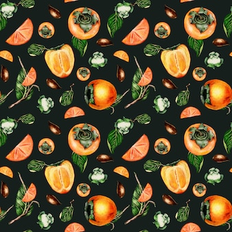 Aquarel hand getekende naadloze patroon met persimmon