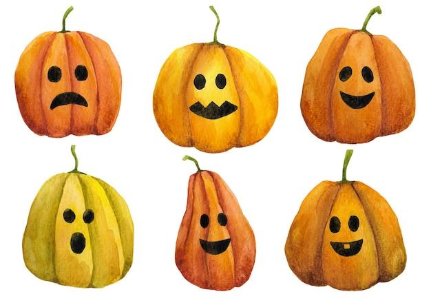 Aquarel hand getekende pompoenen set. halloween pompoenen illustratie. jack o lantaarns clip arts op witte achtergrond.