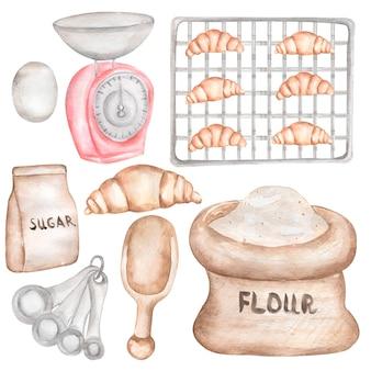 Aquarel hand getrokken bakken set clipart, bakkerij levert illustratie, koken culinaire clipart, keuken voedingsmiddelen, gebruiksvoorwerpen, ingrediënten, baker, cookies afdrukken