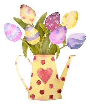 Aquarel hand getrokken samenstelling met tulp eieren van vrolijk pasen. geïsoleerd op een witte. om uw unieke ontwerp te creëren.