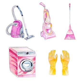 Aquarel hand getrokken schoonmaken clipart set geïsoleerd op een wit. huishoudelijke benodigdheden