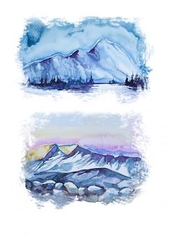 Aquarel handafdruk landschap met bergen. camping concept clipart.
