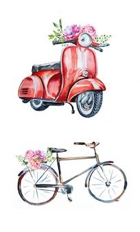 Aquarel handbeschilderd vintage vespa met bloemen en een olf fiets met bloemen.