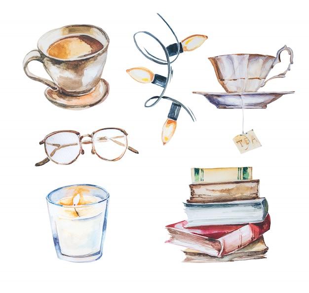 Aquarel handgeschilderde boeken clipart set.