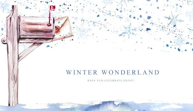Aquarel handgeschilderde brief aan de kerstman in een brievenbusbanner