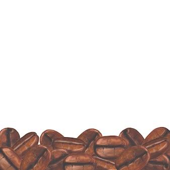 Aquarel handgeschilderde gebrande koffiebonen op oud papier achtergrond.