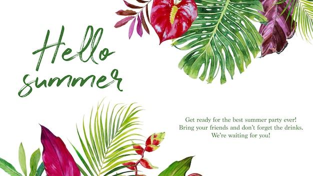 Aquarel handgeschilderde hallo zomer banner met witte achtergrond.