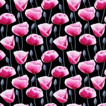 Aquarel handgeschilderde naadloze patroon met papaver bloemen en knoppen op zwarte ondergrond