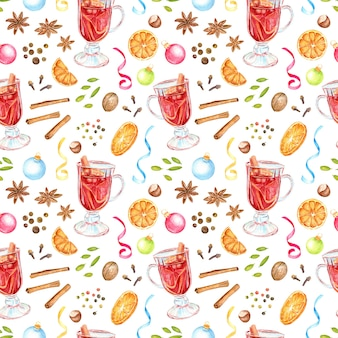 Aquarel handgeschilderde naadloze patroon met warme drank ingrediënten.