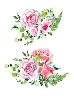 Aquarel handgeschilderde roze roos, eucalyptus en varenboeketten ontwerpset geïsoleerd op een witte achtergrond.
