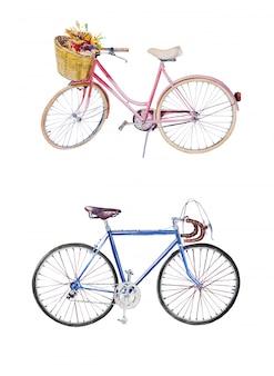 Aquarel handgeschilderde vintage fietsen clipart set. retro fietsen illustraties geïsoleerd op een wit