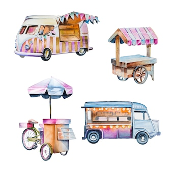 Aquarel handgeschilderde vintage karren clipart set. uitstekende voedselbestelwagens die op een wit worden geïsoleerd