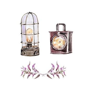Aquarel handgeschilderde vintage lantaarn. retro licht