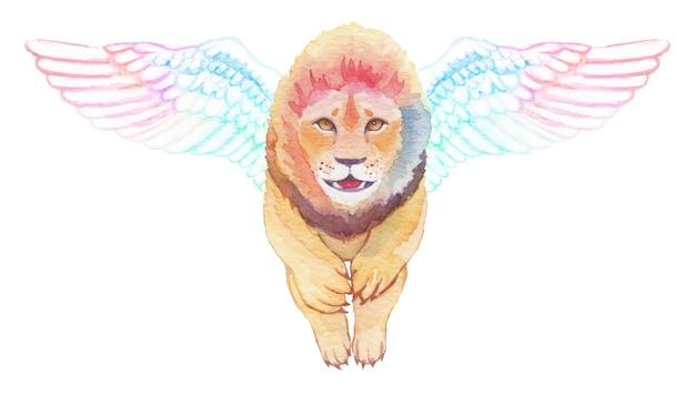 Aquarel handgeschilderde vliegende mooie dappere leeuw met grote zwanenvleugels