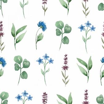 Aquarel handgeschilderde wilde bloemen naadloze digitale papier.