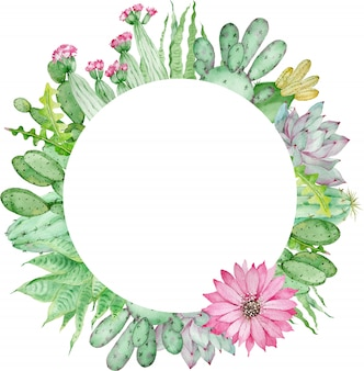 Aquarel handgetekende cirkelframe van cactussen met bloemen