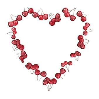 Aquarel hart frame achtergrond met rijpe kersen