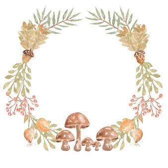 Aquarel herfst bos krans met bessen, bladeren, champignons.