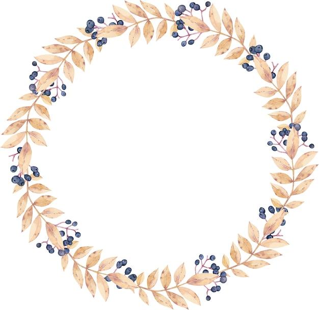 Aquarel herfst krans, ronde frame met gele bladeren en bessen.