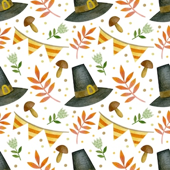 Aquarel herfst naadloos patroon voor thanksgiving day halloween hallo oktober pompoen dag