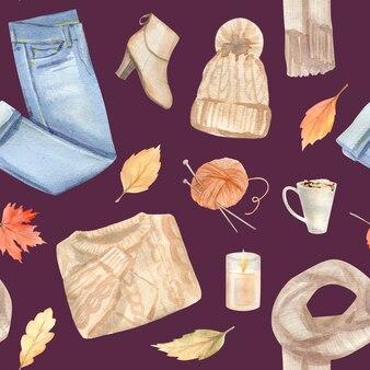 Aquarel herfst naadloze patroon met handgeschilderde gezellige symbolen van herfst seizoen.