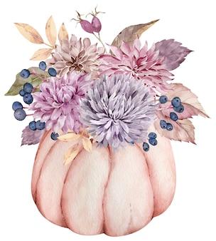 Aquarel herfstbloemen, herfstbladeren, bessen in de pompoen. mooi bloemen- en pompoenarrangement.
