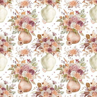 Aquarel herfstboeketten met karmozijnrode, witte en oranje asters en chrysanten. herfst bloemen naadloos patroon