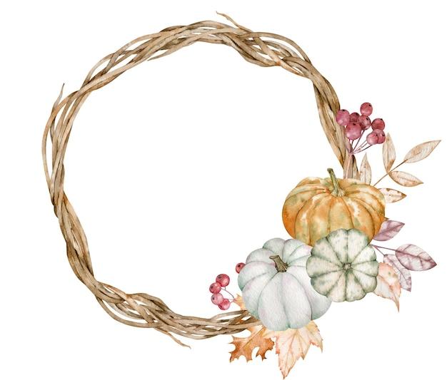 Aquarel herfstkrans met pompoenen, bessen en herfstbladeren geïsoleerd op de witte achtergrond. thanksgiving-dagkaart.