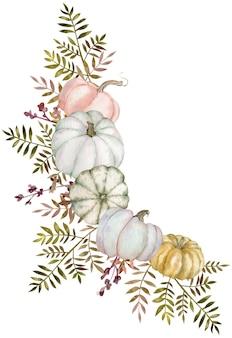 Aquarel hoek boeket met pompoenen en groene bladeren geïsoleerd op de witte achtergrond. hoek herfst frame.