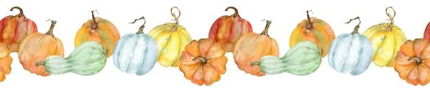 Aquarel horizontale naadloze rand met pompoenen. handgetekende thanksgiving vakantie illustratie.