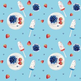 Aquarel icecream naadloze patroon. aquarel hand getrokken zomer strand print.