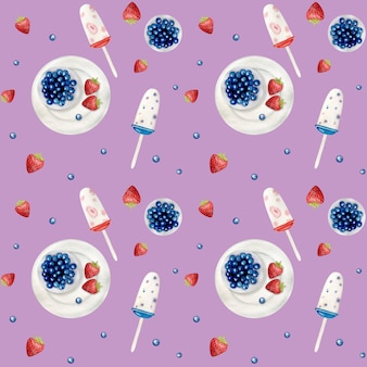 Aquarel icecream naadloze patroon.