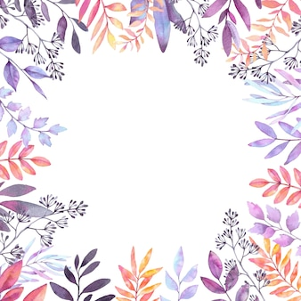 Aquarel illustratie. herfst botanische clipart. frame met paarse bladeren, kruiden en takken