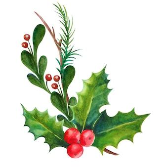 Aquarel illustratie kerstdecoratie hulst bladeren en bessen