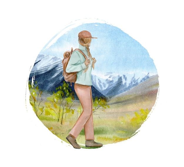 Aquarel illustratie met reizende vrouw met reistas rugzak