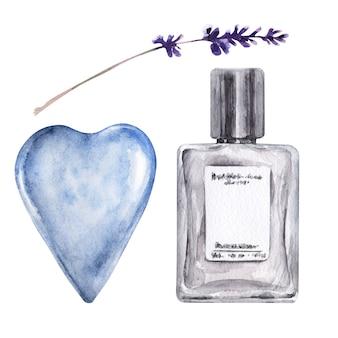 Aquarel illustratie met verschillende flacon, aromatische bloemen en blauw hart