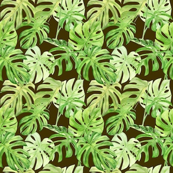 Aquarel illustratie naadloze patroon van tropische blad monstera. perfect als achtergrondstructuur, inpakpapier, textiel of behangontwerp. hand getekend
