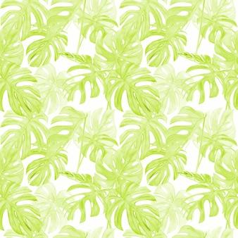 Aquarel illustratie naadloze patroon van tropische blad monstera.