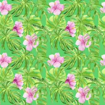 Aquarel illustratie naadloze patroon van tropische bladeren en bloem hibiscus