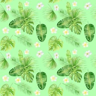 Aquarel illustratie naadloze patroon van tropische bladeren en plumeria bloemen.