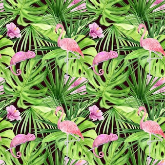Aquarel illustratie naadloze patroon van tropische bladeren en roze flamingo