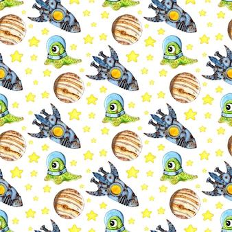 Aquarel illustratie patroon alien in een ruimtepak in de ruimte sterren planeten raket adventures