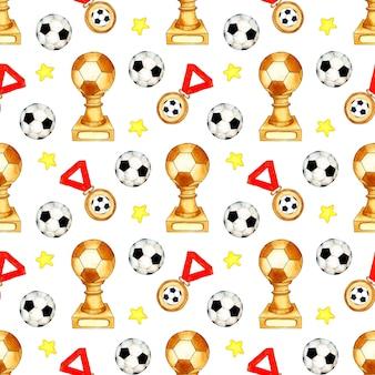Aquarel illustratie patroon van voetbal bekers medailles en sterren naadloze sport herhalen