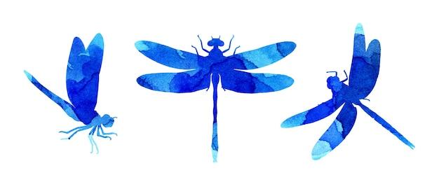 Aquarel illustratie set blauwe abstracte libellen met verf strepen leuke grappige insecten print