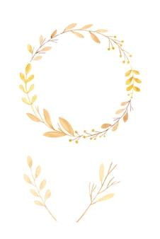 Aquarel illustratie, set hand tekenen herfst, herfst bloemen krans in aquarel stijl geïsoleerd op een witte achtergrond