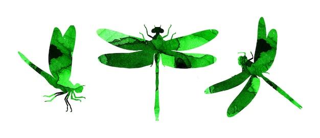 Aquarel illustratie set van groene abstracte libellen met verf strepen leuke grappige insecten print